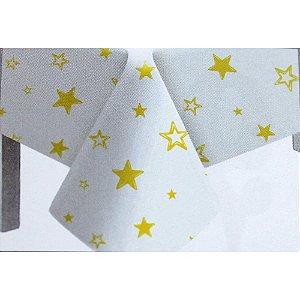 Toalha de Mesa Plástico Estrela Amarelo - 10 un - Medidas Variadas