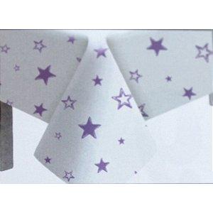 Toalha de Mesa Plástico Estrela Lilás - 10 un - Medidas Variadas