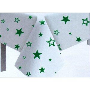 Toalha de Mesa Plástico Estrela Verde Escuro - 10 un - Medidas Variadas