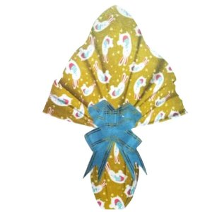 Embalagem Ovo Páscoa 35x35 Pegadas Cenourinha Ouro Brilhante - Ovos 250g a 350g - 25un