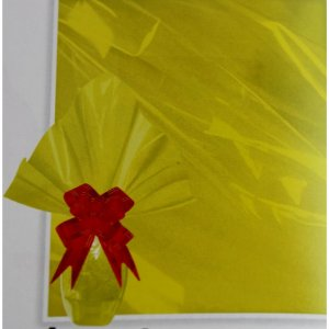 Embalagem Folha Poli Páscoa 69x89 Amarelo - 25un