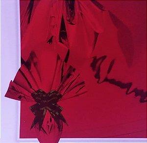 Embalagem Folha Poli Metalizado Páscoa 69x89 Vermelho - 25un