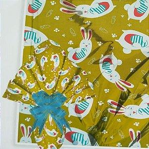 Embalagem Folha Poli Metalizado Páscoa 69x89 Cenourinha Ouro Brilhante - 25un