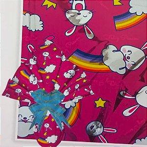 Embalagem Folha Poli Metalizado Páscoa 69x89 Arco-Íris Coelho Pink - 25un