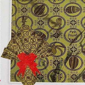 Embalagem Folha Poli Metalizado Páscoa 69x89 Deluxe Ouro Rico - 25un