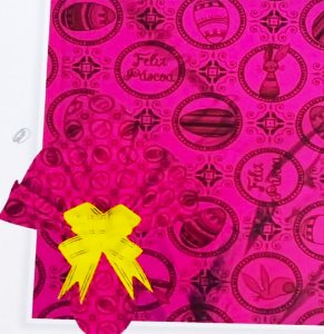 Embalagem Folha Poli Metalizado Páscoa 69x89 Deluxe Pink - 25un