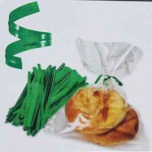 Fecho Prático Metalizado Verde - 0,4x10cm - 100 unidades