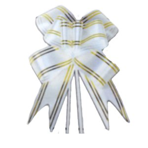 Laço Pronto Borboleta Fio Dourado Branco - 10 unidades - Medidas Variadas