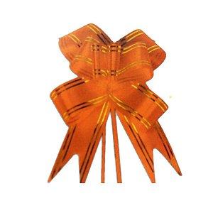 Laço Pronto Borboleta Fio Dourado Laranja - 10 unidades - Medidas Variadas