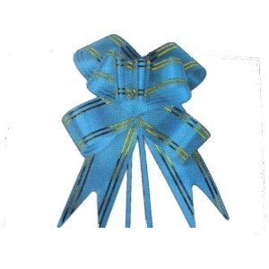 Laço Pronto Borboleta Fio Dourado Azul Médio - 10 unidades - Medidas Variadas