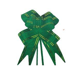 Laço Pronto Borboleta Fio Dourado Verde Bandeira - 10 unidades - Medidas Variadas
