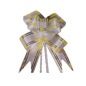 Laço Pronto Borboleta Fio Dourado Cinza - 10 unidades - Medidas Variadas