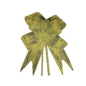 Laço Pronto Borboleta Fio Dourado - Amarelo Ouro - 10 unidades - Medidas Variadas