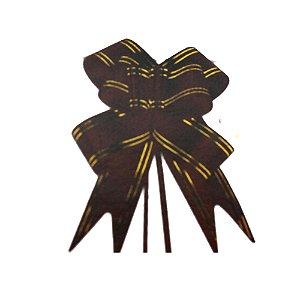 Laço Pronto Borboleta Fio Dourado Marrom - 10 unidades - Medidas Variadas
