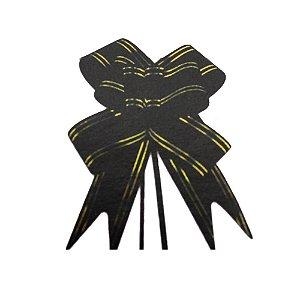 Laço Pronto Borboleta Fio Dourado Preto - 10 unidades - Medidas Variadas