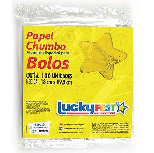 Papel Chumbo para Bolos e Ovos 18x19,5cm - Ouro Brilhante - 100 Folhas
