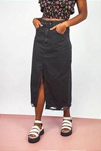 Saia Jeans Midi Black