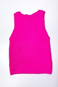 Cropped Canelado Tricot Rosa Neon