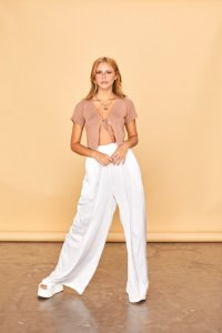 Calça Pantalona Cetim Branca