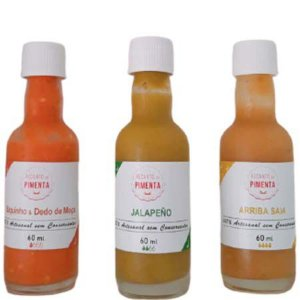 Molho de Pimenta Gourmet - Kit composto por 3 Molhos nos sabores Biquinho e Dedo de moça + Jalapeño e Arriba saia