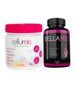 Kit com 1 Bellamis 1000mg 90 Cápsulas + 1 Cellumis 300g Sabor Uva