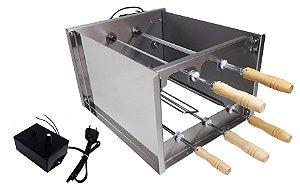 Churrasqueira Rotativa Di Cozin a Carvão CRD-005 - 05 Espetos Rot.  - Bivolt - Com Variador Velocidade