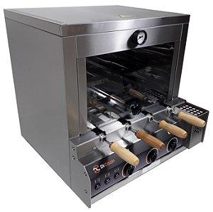 Forno Gourmet Multifuncional a Gás Acend. Aut. 4 Espetos Rot. - de Bancada - Kit Pizza