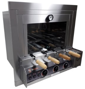 Forno Gourmet Multifuncional a Gás Acend. Aut. 4 Espetos Rot. - de Embutir - Kit Pizza