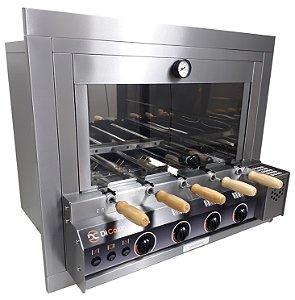 Forno Gourmet Multifuncional a Gás Acend. Aut. 5 Espetos Rot. - de Embutir - Kit Pizza