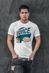 Camiseta masculina 100 %algodão estampada branca