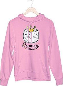 Blusa feminina de moletom rosa com capuz Gato meow