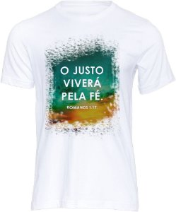 Camiseta Tshirt Evangélica Religiosa o justo viverá pela FÉ