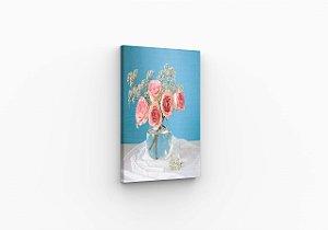 Quadro Decorativos Rosa no Vaso com agua Sala Quarto Varanda