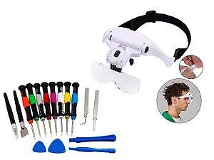 kit chave 16 peças para manutenção celular + óculos lupa