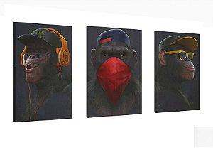 Quadros Decorativo Trio Macacos Escritório Sala casa 120x50
