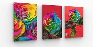 Quadros Decorativo Trio Flores Coloridas  sala quarto 120x50