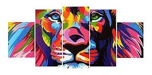 Quadros Decorativos Mosaico Tecido Chassi De Madeira Leão