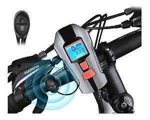 Farol Bike Recarregável Com Buzina Led Velocímetro Usb