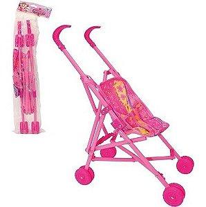 Presente Carrinho Infantil Boneca Dobrável Rosa Menina 43cm