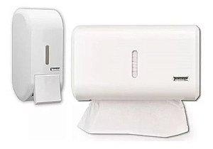 Kit Dispenser Papel Interfolha + Sabonete Liquido Compacto