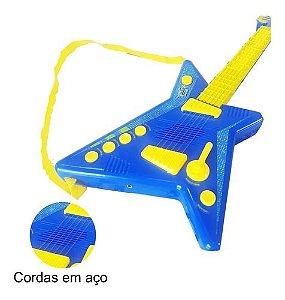 Microfone E Guitarra Infantil Rock Star - Azul Ou Rosa