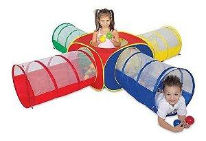 Toca Barraca Playground 5 Em 1 Com 100 Bolinhas Túnel Em X