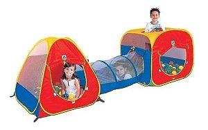 Toca Infantil Tunel 3 Em 1 Com 150 Bolinhas Braskit