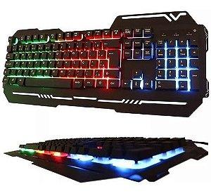 Teclado Gamer Luminoso Led  Colorido Base De Metal Wb-539