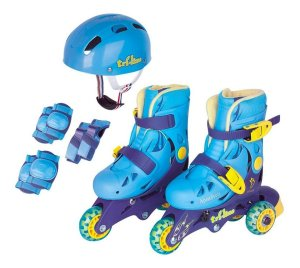 Patins Infantil Ajustável Triline Capacete E Proteção Fenix