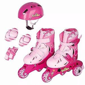 Roller Patins Infantil Classico Triline 3 rodas  -ROSA