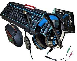 Kit Combo 3 em 1 Gamer Teclado Mouse e Fone Headset