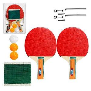 Kit Ping Pong Tênis Mesa Raquetes Rede Bolinhas