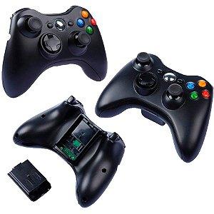 Controle Sem Fio Para Xbox 360 Slim Preto