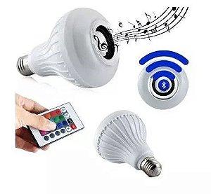 Lâmpada Led Rgb Bluetooth Controle Remoto Caixa De Som 12w